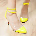 Women Point Toe Cap Pumps Party High Heel Ankle Strap Clear Shoes Sandals
