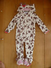 CUTE BABY TODDLER FLEECE ALL IN ONE DRESSING UP PLAYSUIT WHITE BROWN COW BNWT