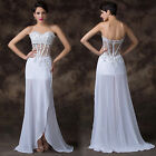 30% OFF Beads Applique Evening Prom Bridesmaid Formal Long Party See-Thru Dress