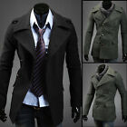 Fashion New Winter Men Slim Single-breasted Woolen Coat Jacket Lapel Windbreaker