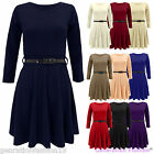 LADIES BELTED FLARED SHORT MINI WOMENS PLEATED LONG SLEEVES  SKATER DRESS 8-14