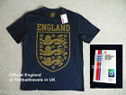 SMALL OFFICIAL ENGLAND DARK NAVY T SHIRT New Tag Football Soccer Calcio COTTON