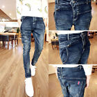 Men's Stylish Skinny Slim Fit Pencil Pants Casual Stretchy Jeans Denim Trousers