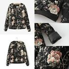 Retro Winter Black Floral Flower Womens Ladies Coat Cotton Padded Jacket Outwear