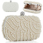 2 Colours Shell-Design Charms Bridal Beaded Pearl Clutch Evening Party Wedding