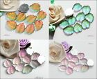 8 x WG Iridescent Matt Glass Leaf Cabochons Lilac Pink Green Peach Cab Flatbacks