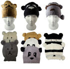Ladies Animal Hats Teddy Panda Raccoon Womens Knitted Beanie One Size New