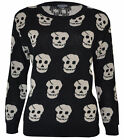 Ladies Skull Print Jumper Womens Knitted Sweater Sizes One Size