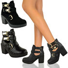 NEW WOMENS LADIES GOLD BUCKLE CUT OUT CHELSEA BLOCK HEEL ANKLE BOOTS SHOES SIZE
