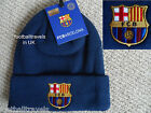 OFFICIAL BARCELONA BADGE CUFF NAVY BEANIE HAT Mens Football Soccer calcio