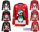 UNISEX LADIES WOMENS KNITTED REINDEER PENGUIN XMAS CHRISTMAS NOVELTY JUMPER TOP