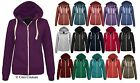 NEW WOMENS PLAIN ZIP HOODIE SWEATSHIRT LADIES FLEECE HOODED JACKET TOP SIZE 6-20