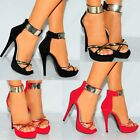 WOMENS PLATFORMS STRAPPY SANDALS GOLD ANKLE CUFF STRAP PEEP TOE HIGH HEELS SHOES