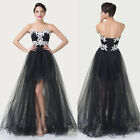 Sexy Strapless Tiered Asymmetrical Masquerade Prom Party Cocktail Evening Dress