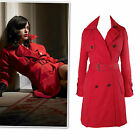 New red cotton twill belted trench coat