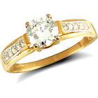 Jewelco London 9ct Solid Gold CZ set solitaire style Ring stone set shoulders