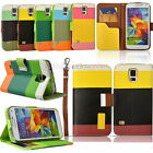 Contrast Color PU Leather Wallet Stand Case Cover for Samsung Galaxy S5 i9600 UK