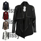 Womens Open Front Quilted Blazer Ladies Waterfall Cardigan Jacket Coat Top 8-14