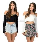 Long Sleeve Off The Shoulder Peasant Blouse Crop Tops Casual Shirts Tee ItS7