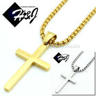 """16-32""""Stainless Steel 2/3/4mm Gold/Silver Smooth Box Link Chain Cross Pendant*P"""