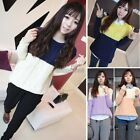 Fashion Korean Womens Long Sleeve Stripe Cable knit Jumper Pullover Sweater Tops