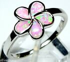 Pink Fire Opal Inlay 925 Sterling Silver Plumeria Flower Ring size 6.75 or 8.75