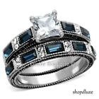 3.45 Ct Princess Cut Clear & Blue CZ Stainless Steel Wedding Set Women's Sz 5-10