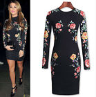 Womens Vintage Flower Printed Bodycon Stretch Tunic Cocktail Party Evening Dress