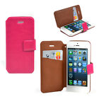 Classic Leather Cell Phone Case Card Holder Magnetic Snap for iPhone 5 5S New