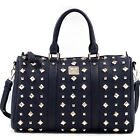 Women Faux Leather Flat Bottom Pyramid Studded Tote Bag with Shoulder Strap New