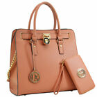 Women High Quality PU Leather Briefcase Laptop Bag Business Bag with Gold Tone