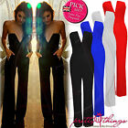 UK Women Celeb Deep V Plunge Flared Jumpsuit Party Dress Boutique Maxi Playsuit