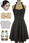 PLUS SIZE 50s Style BLACK with White POLKA DOTS Pinup Betty HALTER TOP Sun Dress