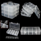 Clear Plastic Craft Beads Jewelry Storage Container Compartment Tool Box Case