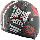 Speed and Strength SS700 Tapout Moto Full Face Motorcycle Helmet Black White Red