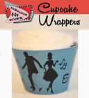 RETRO ROCK AND ROLL 50S DINER Party 15 Wraps Cupcake Cases Cake Wrappers