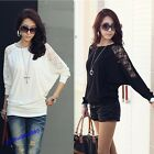 Hot Sale Women Batwing Lace Long Sleeve Ladie Loose T Shirt Blouse Top 5Size