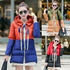 Women's Winter Fur Collar Hooded Jacket Coats Cotton Padded Outwear Trench Coat