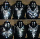 Women Bridal Silver Rhinestone Crystal Necklace Earrings Bracelet Ring Set Prom
