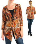Women's Blouse metallic geometric print babydoll assymmetric tunic XL 2X 3X