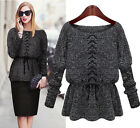 Vintage Womens Chic Round Neck Long Sleeve Pullover Jumper Sweater Knitwear Tops