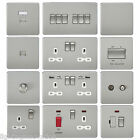 SCREWLESS FLATPLATE LIGHT SWITCHES & PLUG SOCKETS BRUSHED CHROME WHITE INSERT