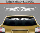 Design #146 Tribal Heart Swoosh Windshield Decal Window Sticker Vinyl Graphic