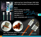 iPhone 5,6 iPad Air1,2,Mini Lightning Data Charger Cable Nylon Braided+PTE+Alum