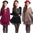 New Casual Loose Long Sleeve Top Shirt  Womens Knit Wool Mini Dress Blouse ItS7