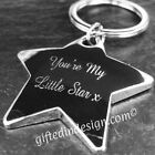 Personalised Diamond Engraved Polished Silver Chrome Chunky Star Keyring/ Boxed
