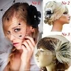 Handmade Wedding Bridal Face Veil Party Fascinator Feather With Comb Head Piece