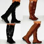 WOMENS BROWN BLACK STRETCH PU PATENT LEATHER OVER KNEE RIDING FLAT BOOTS SIZE