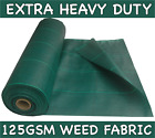Various Sizes GREEN 125GSM Extra Heavy Duty Weed Control Driveway/Garden Fabric <br/> 1M, 2M, 3M, 4M & 5M WIDTHS + buy with or without pegs