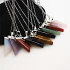 Amethyst White Quartz Crystal Pendants Natural Triangle Stones With Necklace